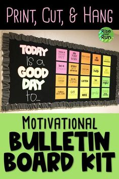 This bulletin board looks so good! Today is a good day to have a good day. and other motivational phrases. Kit includes everything needed to make this beautiful bulletin board for a hallway or classroom decor. Such a great idea! Counselor Bulletin Boards, Hallway Bulletin Boards, Elementary Bulletin Boards, Bulletin Board Design, Interactive Bulletin Boards, Bulletin Board Display, Preschool Bulletin, Elementary Library, Bulletin Board Ideas For Teachers