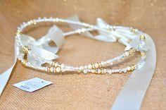 STEFANA Wedding Orthodox Crowns / Tiaras / Stephana with Gold rhinestones, original swarovski crystals and pearls