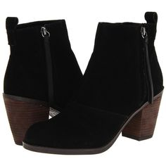 DV by Dolce Vita Joust (€89) ❤ liked on Polyvore featuring shoes, boots, ankle booties, ankle boots, heels, sapatos, black suede, black heel booties, short black boots and stacked heel booties