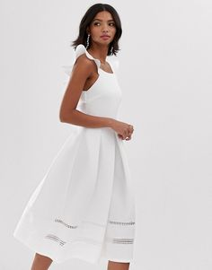 Shop ASOS DESIGN lace insert ruffle back midi prom dress. With a variety of delivery, payment and return options available, shopping with ASOS is easy and secure. Shop with ASOS today. Ball Gowns Evening, Evening Dresses, Prom Dresses, Fishtail Maxi Dress, Pleated Midi Dress, Asos, Rehearsal Dinner Dresses, Prom Dress Shopping, Lace Insert