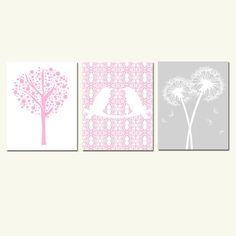 Nursery Trio - Set of Three Coordinating 11 x 14 Prints - Pink, White, Taupe, and Gray - Love Birds, Tree Dot, Dandelion Floral. $59.50, via Etsy.