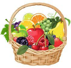 Fruit Basket PNG Vector Clipart