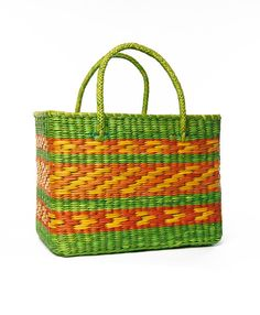 Lime Green and Zig Brazil Basket Tote