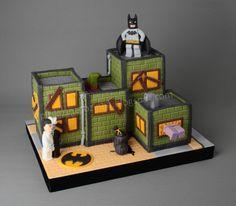 Lego batman on derelict building