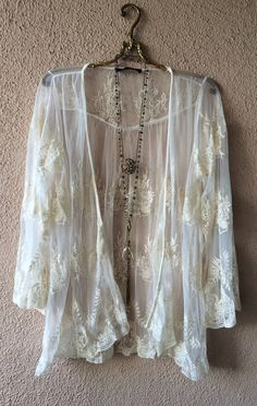 Image of Anthropologie Lace Gypsy embroidery Kimono for beach or coverup