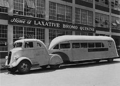 Now that is cool.  1938?  Ford? *EDIT* Per Mogstad says it's a 1935 Studebaker. So, is everybody that was on the bus go inside for some some Bromo? via Neat Old Stuff and Yesteryear Facebook