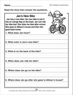 Jan's New Bike (A Reading Comprehension Passage with Questions): 1st Grade Reading Comprehension Skills