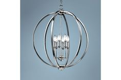 Feiss Corrine Polished Nickel Globe 24 1/2-Inch-W Pendant - #EU8H734 - Euro Style Lighting