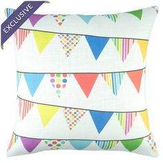 Linen-blend pillow with multicolor flag motif. Handmade in the USA.   Product: PillowConstruction Material: Linen...