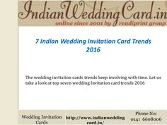 Know the #IndianWeddingInvitationCard trends @ http://www.slideshare.net/weddinginvitationcards/indian-wedding-invitation-card-trends via http://indianweddingcard.in/