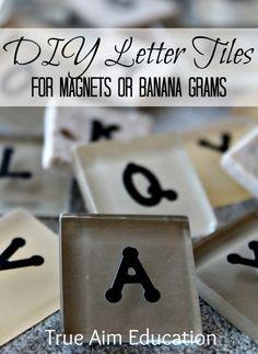 DIY Bananagrams: Letter Tiles - make them yourself - cheaper! DIY Bananagrams: Letter Tiles - make them yourself - cheaper! Learning Letters, Alphabet Activities, Learning Activities, Activities For Kids, Teaching Ideas, Fun Games, Games For Kids, Art For Kids, Word Games