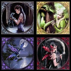 """Anne Stokes Magnets """"A"""", Fantasy Art Trading's Online Store. $12.95 AUD for set of 4."""