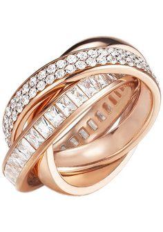 """Esprit collection, Ring, """"EL-tridelia rose, ELRG92258B170-200"""". Glamouröses und elegantes Schmuckstück auf hohem Niveau - Dieser interessante 3-fach verschlungene Handschmuck, ist aus poliertem, roségoldfarbenen, vergoldetem Silber 925 gefertigt. Die eingearbeiteten Zirkonia (synth.) funkeln um die Wette. Die einzelnen Ringschienen haben eine Breite von je ca. 4 mm. Ein absoluter Blickfang an j..."""