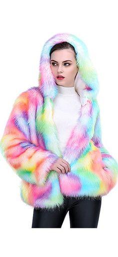 d14a8361426 JTENGYAO Women Faux Fur Coat Rainbow Color Plus Size Winter Thick Outerwear Fur  Jacket Parkas With