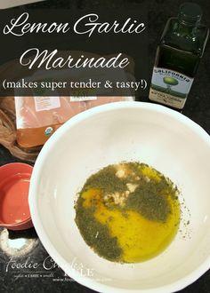 Best Ever Lemon Garlic Marinade - For Chicken, Fish OR Veggies - Tender & Tasty Marinade! - #marinade foodiechicksrule.com