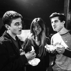 Michael Johnston, Kelsey Chow and Henry Zaga on the set of Teen Wolf!