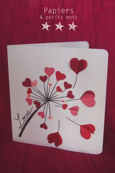 carte love pissenli Plus Mothers Day Crafts, Valentine Day Crafts, Crafts For Kids, Love Cards, Diy Cards, Diy Birthday, Birthday Cards, Tarjetas Diy, Heart Cards