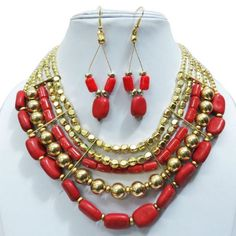 """Beautiful and gorgeous handcrafted gold tone metal necklace earring set. This is very attractive belly dance necklace set and look extremely elegant yet antique in you. This Jewelry add more charm to your jewelry collection. This necklace is beaded with red acrylic stones. You can wear this necklace set jewelry at any party or at any occasion to look more beautiful and gorgeous. Necklace Length -10 InchEarrings Length - 2.5"""" Inch"""""""