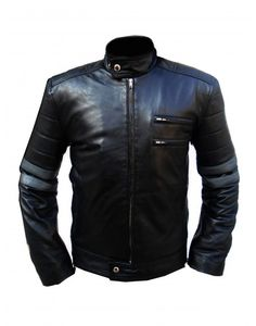 Black Grey Stripes Mens Motorcycle  Leather Jacket 2017 sale price available on styloleather.com
