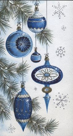 Vintage Christmas Card: Old-Fashioned Indented Ornaments - Blue/Silver Highlight - Vintage Christmas greeting cards Three decorations crafts Vintage Christmas Images, Old Christmas, Old Fashioned Christmas, Vintage Christmas Ornaments, Retro Christmas, Vintage Holiday, Christmas Pictures, Christmas Greetings, Holiday Cards
