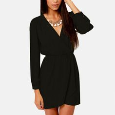 6f0e5216015 Surplice See Through Elastic Waist Dress