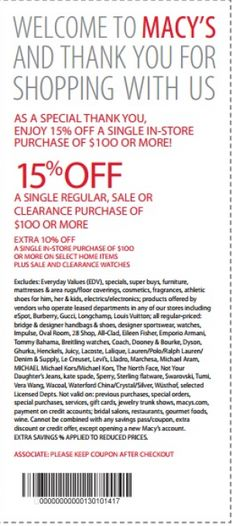 REPIN Macys Printable Coupons 15 Off. CLICK the image to print out right now.