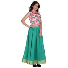 Floral crop top thread embroidered . With Chanderi skirt . by OrchidsSutraa on Etsy