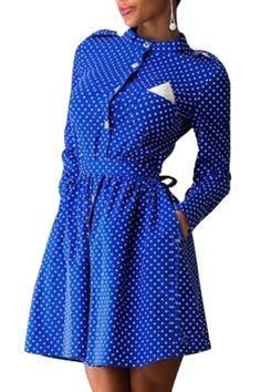 Womens Polka Dot Printed Stand Collar Long Sleeve Pleated Dress Blue
