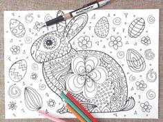 easter bunny card chibi kids coloring kawaii rabbit adults