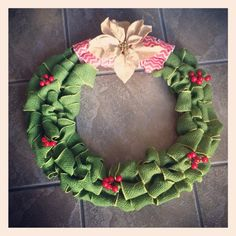 Christmas wreath.  Burlap ribbons and accessories from Walmart.