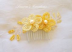 French Beaded Flower Hair Comb gold wedding by LaurenHCreations, $20.00