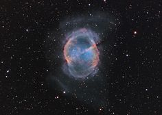 Messier 27 (M27) is an excellent example of a gaseous emission nebula created as a sun-like star runs out of nuclear fuel in its core. The nebula forms as the star's outer layers are expelled into space, with a visible glow generated by atoms excited by the dying star's intense but invisible ultraviolet light.