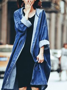 DoreenBow New Design Spring Autumn Lady Long Jeans Jacket Women Blue Denim Punk Style Jackets Coat Outwear With Hat, 1 PC Cardigans For Women, Coats For Women, Jackets For Women, Clothes For Women, Couple Clothes, Ladies Coats, Denim Coat, Denim Mantel, Stylish Clothes