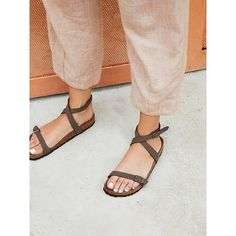 Daloa Birkenstock ($100) ❤ liked on Polyvore featuring shoes, sandals, shock absorbing shoes, ankle wrap sandals, birkenstock shoes, strappy shoes and ankle wrap shoes