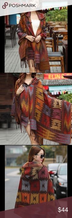 """NEW ARRIVALGorgeous Poncho/Cape With Hood! Simply stunning soft wool blend geometric print poncho with hood & fringe. 32""""X32"""" New in package. Color & pattern may vary somewhat from picture due to material. Boutique Jackets & Coats Capes"""