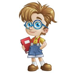 Geek boy vector character holding a notebook