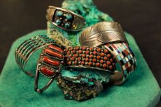 Amazing Turquoise, Coral, Mother of Pearl Sterling Silver Bracelets Vintage Shops, Vintage Antiques, Austin Shopping, Uncommon Objects, I Love Jewelry, Jewellery Display, Sterling Silver Bracelets, Vintage Jewelry, Rings For Men