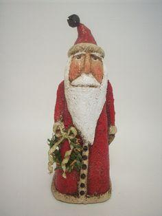Primitive Paper Mache Red Folk Art Santa by papiermoonprimitives, $60.00