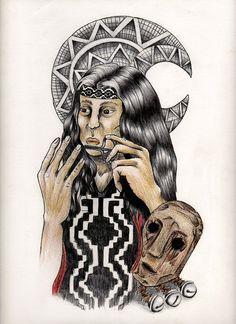 Hombre Mapuche y objetos cotidianos; El Trompe Mapuche
