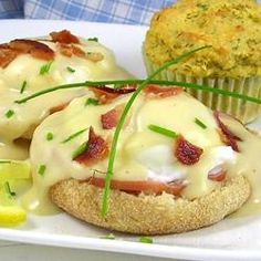 Double-Cheese Eggs Benedict Allrecipes.com
