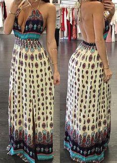 Open Back Plunging Neckline Printed Dress