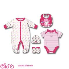 #accesoriosmuñecas Ropa para muñecas - Conjunto topos y rayas rosa - T. 3 meses www.disy.es