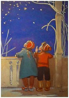 Vintage Martta Wendelin Winter Art ~ Little kids stargazing ~ Orange Accents Vintage Christmas Cards, Christmas Art, Vintage Cards, Winter Illustration, Children's Book Illustration, Jolie Photo, Vintage Children, Martini, Art For Kids