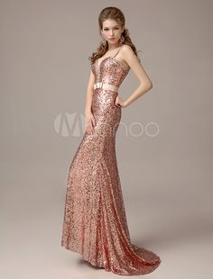 Sequined Strapless Mermaid Prom Dress