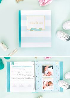 """The Story of You"" - a fresh, simple, gender neutral baby book in binder format so pages can easily be added or removed. Touches of gold foil on each page and a white and gold keepsake box. $62"
