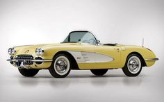 1958 Chevrolet Corvette Convertible Roadster Maintenance of old vehicles: the material for new cogs/casters/gears/pads could be cast polyamide which I (Cast polyamide) can produce Chevy, Chevrolet Corvette C1, 1958 Corvette, Chevrolet Auto, Yellow Corvette, Corvette Stingray, Retro Cars, Vintage Cars, Antique Cars