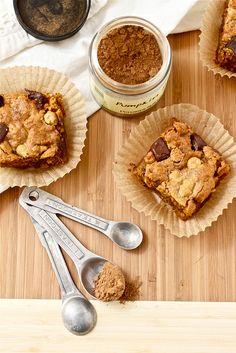 DIY Pumpkin Pie Spice recipe with a link to Pumpkin Butterscotch Blondie recipe.  Looking forward to fall!