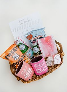 Pink Veritas Vineyard Wedding by Jodi Miller - Southern Weddings Wedding Gifts For Guests, Wedding Welcome Bags, Beach Wedding Favors, Unique Wedding Favors, Wedding With Kids, Rustic Wedding, Wedding Ideas, Fall Gift Baskets, Welcome Baskets