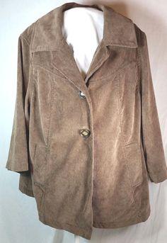 1e043867414 LAL Live A Little Womens Size 1X Brown Corduroy Jacket Blazer Plus Size   LiveaLittleLAL