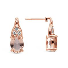 Silver Rose Plated Oval Morganite Cubic Zirconia Drop Earring
